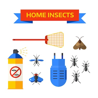 Ongediertebestrijding werknemer spuiten pesticiden thuis insecten vector.