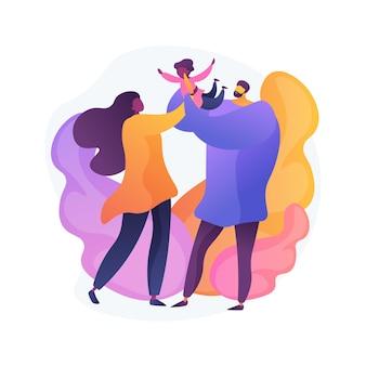 Ongehuwde ouders abstract concept illustratie. ongehuwd paar vechten, samenwonende partners, alleenstaande zwangere vrouw, echtscheiding en scheiding, ongehuwde moeder