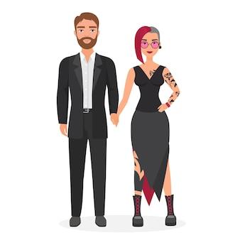 Ongelijke paar non-conformistische vrouw in alternatieve mode kleding met man in klassiek pak