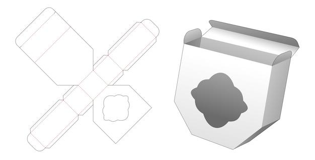 Ongelijke zeshoekige doos met gestanst sjabloonontwerp met gebogen venster