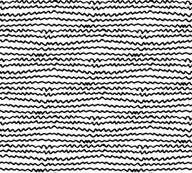 Ongelijke zigzagpatroon naadloze textuur eindeloze ornamenttegel zwarte kronkelende lijnen op wit