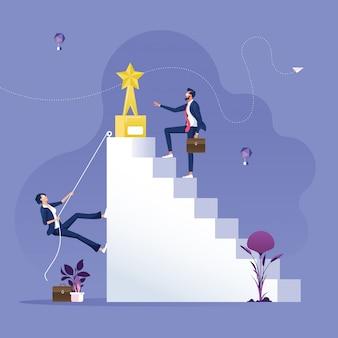 Ongelijkheid in bedrijfsconcept met zakenman en zakenvrouw