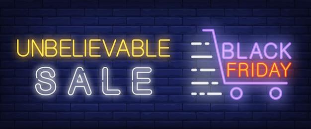 Ongelooflijke verkoop, zwarte neon-neontekst met winkelwagen