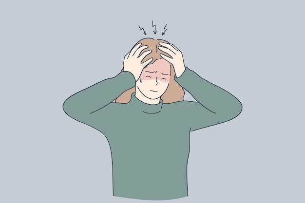 Ongelukkig depressief beklemtoond meisje hoofd met vingers aan te raken