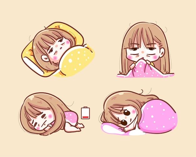 Ongelukkig meisje probeert 's nachts te slapen en slapeloosheid voor het slapengaan
