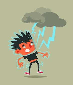 Ongelukkig, mislukt man-personage dat door blikseminslag raakt.