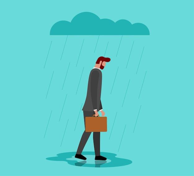 Ongelukkige depressieve eenzaamheid trieste man in stress met negatieve emotie probleem wandelen onder regen