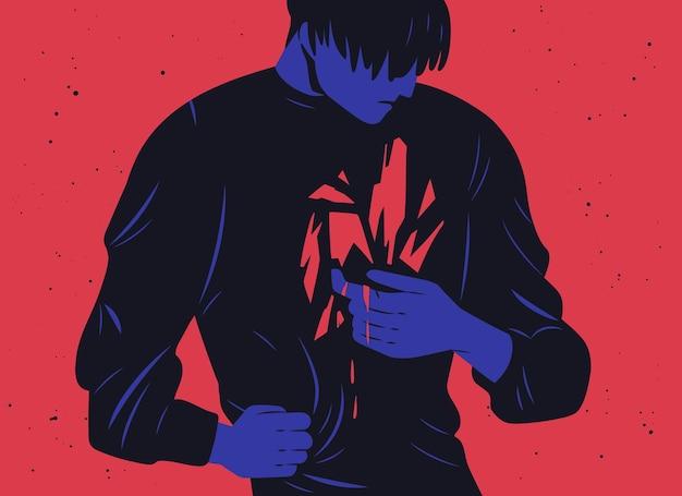 Ongelukkige jongeman en zijn innerlijke trauma of bloedend litteken