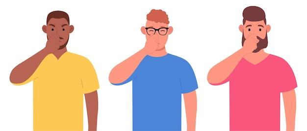 Ongelukkige mannen die vingers op de neus houden. mannelijke mensen ruiken iets stinkends en ruiken. vector illustratie.