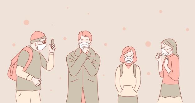Ongelukkige mensen in beschermende gezichtsmaskers als gevolg van luchtvervuiling cartoon overzicht illustratie.
