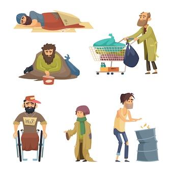 Ongelukkige vuile arme en wanhopige mensen. vector tekens instellen