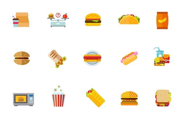 Ongesond voedsel icon set Gratis Vector