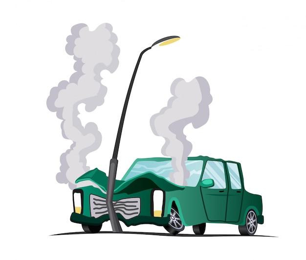 Ongeval op de weg. auto stuitte op een lantaarn. illustratie van crash voertuig, schade auto. verzekeringszaak. gebroken cartoon auto