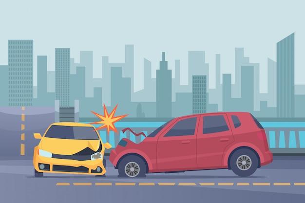 Ongeval weg achtergrond. beschadigde auto's met sappen in het stedelijk landschap noodhulp helpen gebroken transportfoto's