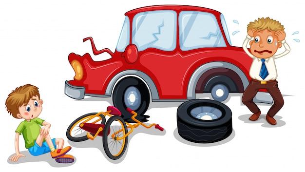 Ongevallenscène met auto-ongeluk en gewonde jongen