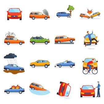 Ongevallenweg op straat beschadigde auto's na de botsingsvector van de botsingsauto.