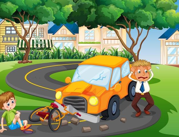 Ongevalscène met auto-ongeluk in het park
