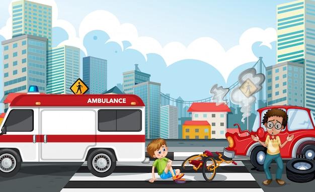 Ongevalscène met autoneerstorting in de stad