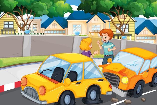 Ongevalscène met mensen en auto-ongeluk