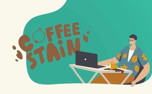 Onhandig mannelijk personage zit op de werkplek spill coffee in de buurt van laptop zet vlekken op het bureau. problemen op het werk, nerveuze of gestresste situatie op kantoor, stoornis, onhandigheid. cartoon vectorillustratie