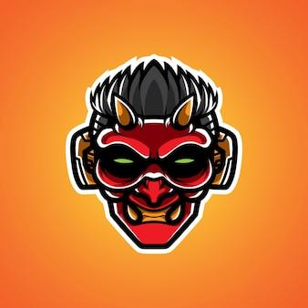 Oni cyborg hoofd mascot-logo