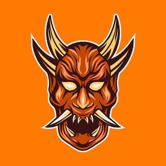 Oni duivel masker illustratie
