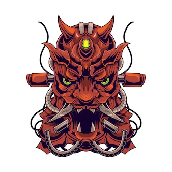 Oni duivel mecha robot vector illustratie geïsoleerd