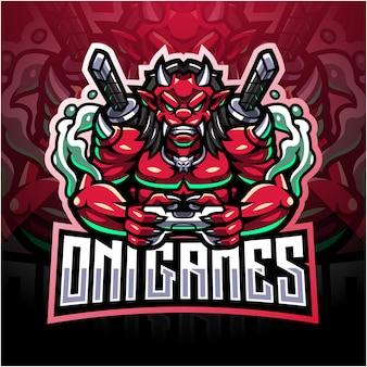 Oni games esport mascotte logo ontwerp