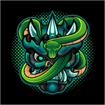 Oni hoofd mascotte logo met groene slang