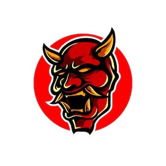 Oni hoofd mascotte logo ontwerp