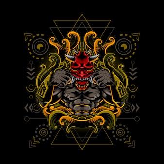 Oni mask fighter cyborg style heilige geometrie