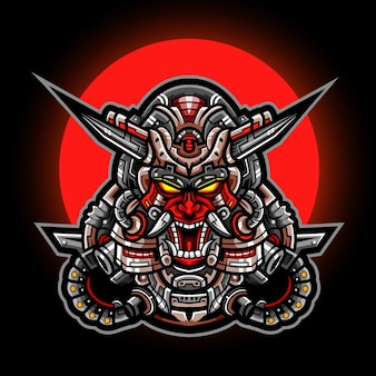 Oni mask mecha esport mascotte logo ontwerp