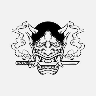Oni mask tattoo hand getekende illustratie