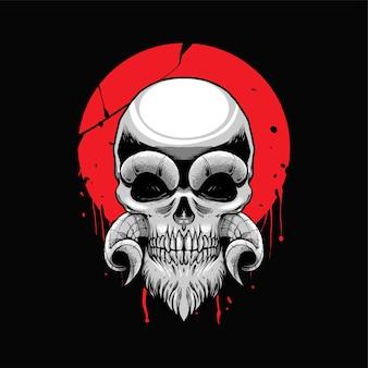 Oni schedel illustratie met ornament. geschikt voor t-shirt-, print- en merchandiseproducten