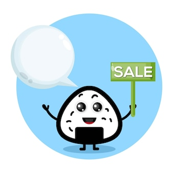 Onigiri verkoop schattig karakter logo
