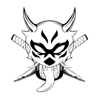 Onimask illustratie zwart-wit voor tshirt