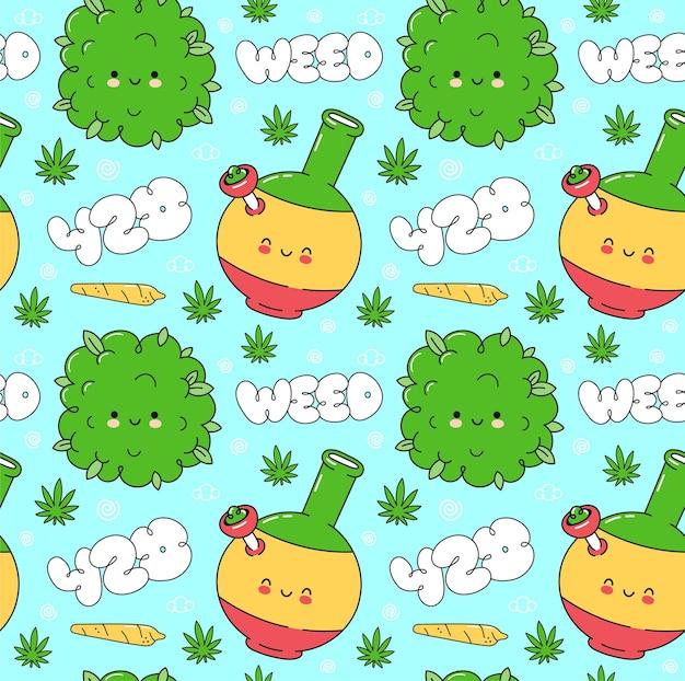 Onkruid marihuana naadloos patroon