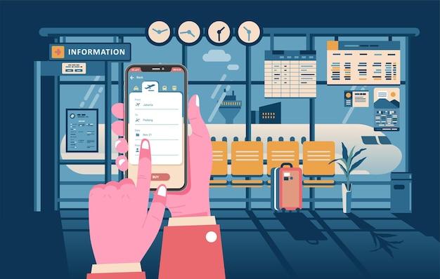 Online aanvraag voor vluchtinformatie, informatie geven over de luchthaven, vlucht.