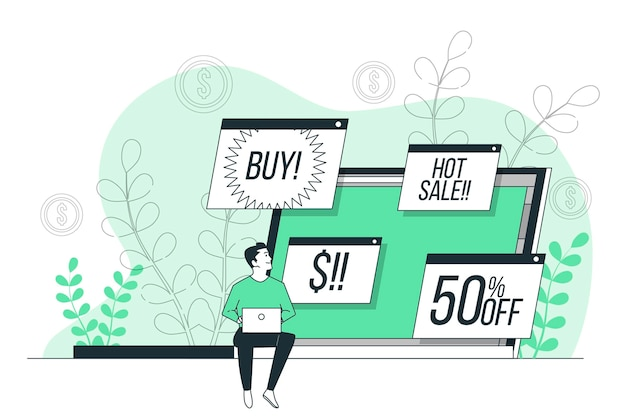 Online advertenties concept illustratie