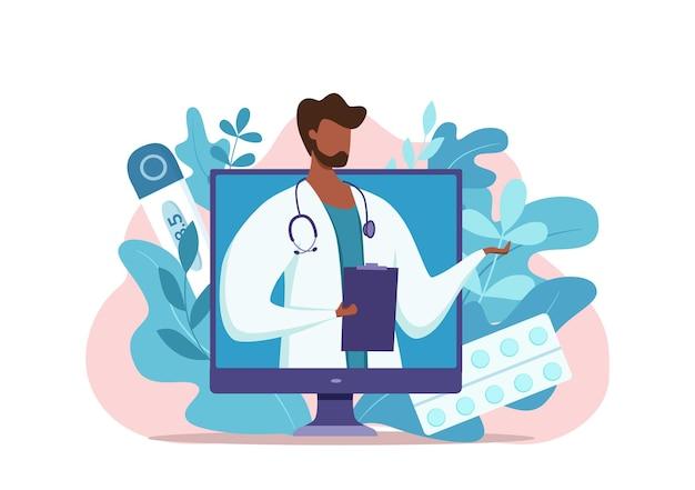 Online afro-amerikaanse arts medisch consult vectorillustratie cartoon platte smartphone