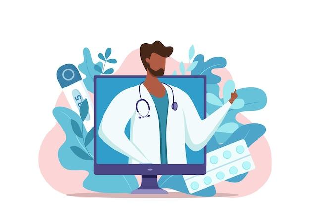 Online afro-amerikaanse arts medisch consult vectorillustratie.