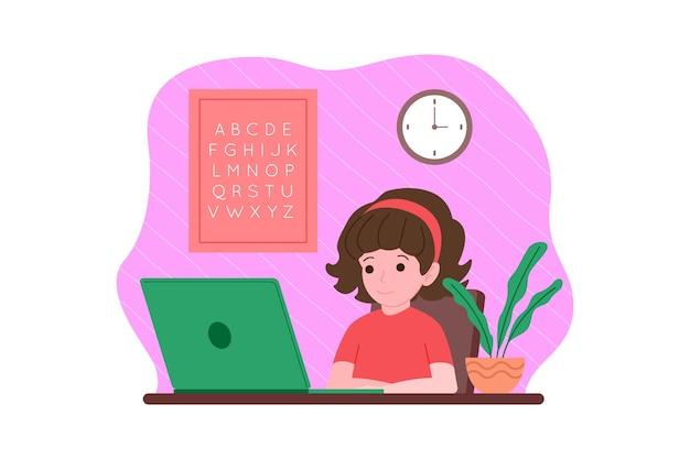 Online afstandsonderwijs. de jongen studeert met een computer online vanuit huis. terug naar schoolconcept. vectorillustratie in een vlakke stijl.