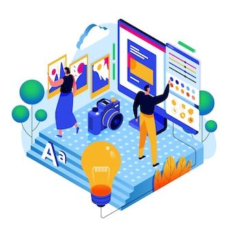 Online alternatief onderwijs isometrisch concept