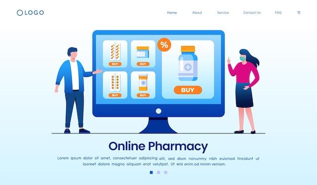 Online apotheek eenvoudig bestellen met computer eps vector sjabloon
