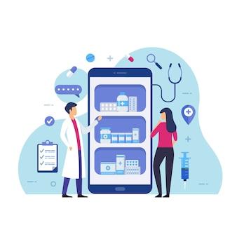 Online apotheek koopt medicijnen via online ontwerpconcept