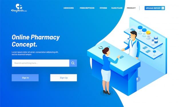 Online apotheek met isometrische weergave van medische winkel