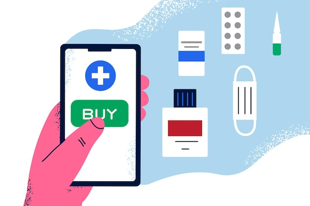 Online apotheek mobiele applicatie concept