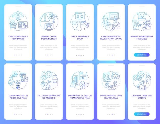 Online apotheek onboarding mobiele app-paginascherm met concepten. doorloop van de status van apothekersregistratie in 10 stappen. ui-sjabloon met rgb-kleurenillustraties