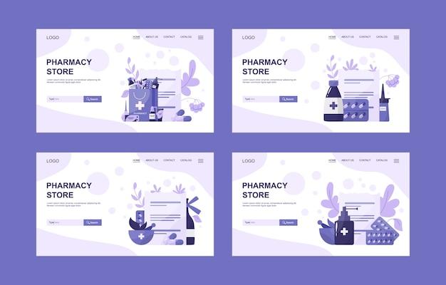 Online apotheek webbannerset. medicijnpil voor ziektebehandeling en receptformulier. geneeskunde en gezondheidszorg. drogisterij webbanner of idee van de website-interface. illustratie