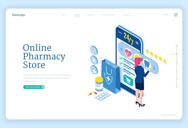 Online apotheek winkel banner. mobiele drogisterij. bestemmingspagina met isometrische vrouw en smartphone met applicatie voor aankopen medische medicijnen, pillen en gezondheidsproducten